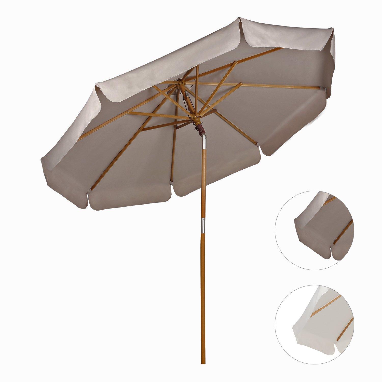 270cm sonnenschirm marktschirm holzschirm garten pavillon schirm knickbar ebay. Black Bedroom Furniture Sets. Home Design Ideas