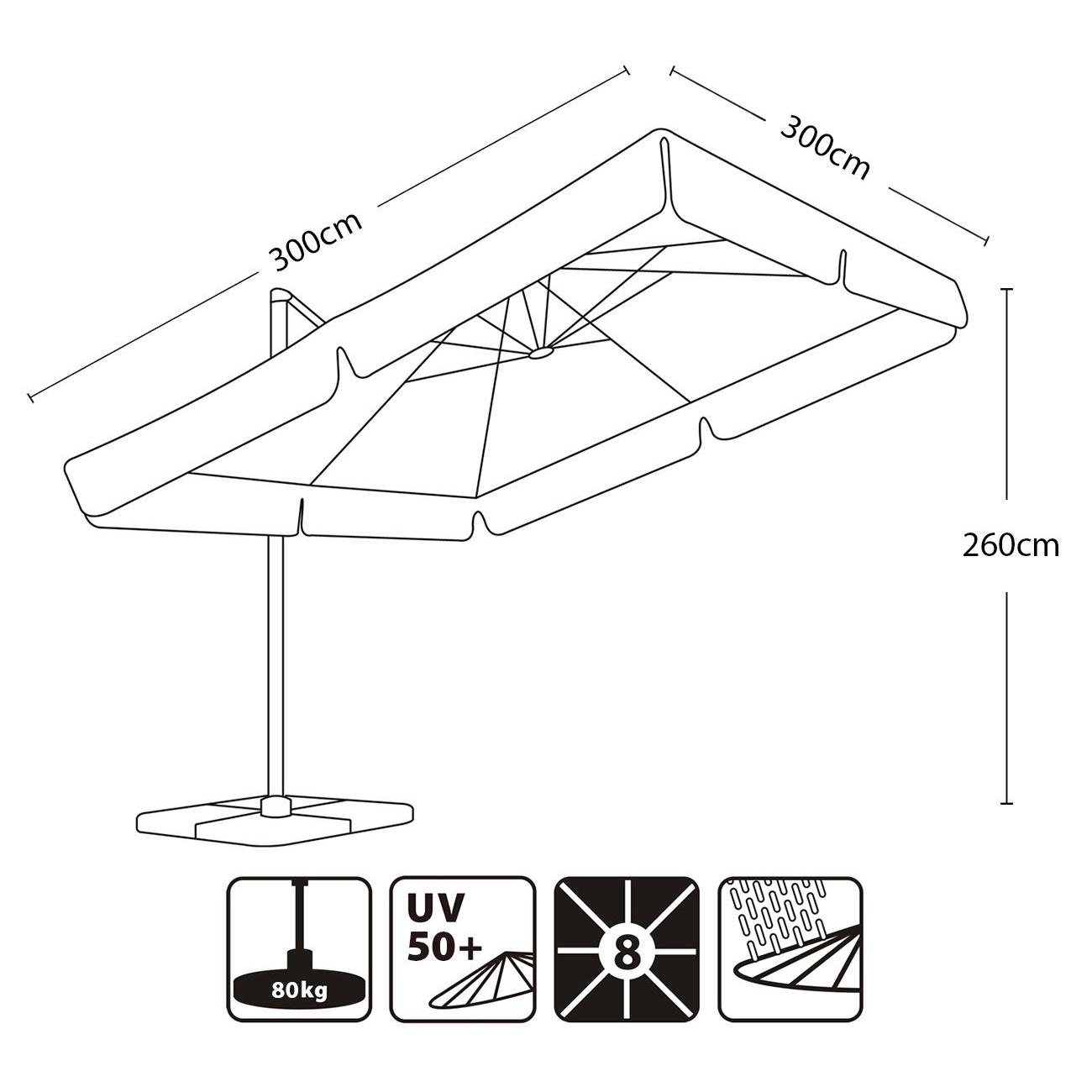 luxus ampelschirm wasserdicht sonnenschutz schirm 3m sonnenschirm kurbelschirm ebay. Black Bedroom Furniture Sets. Home Design Ideas